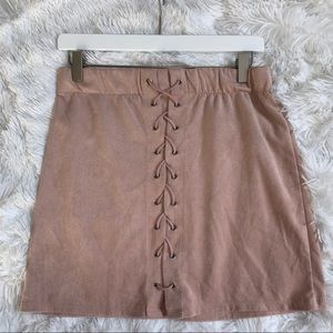 Suede Mauve Pink Lace Up Skirt